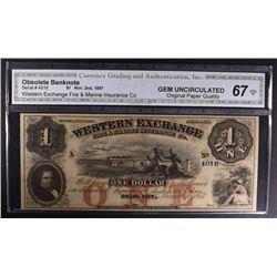 1857 $1 WESTERN EXCHANGE #4016
