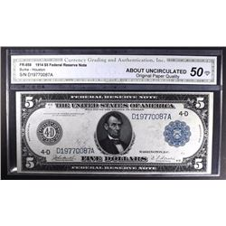 1914 $5 FEDERAL RESERVE NOTE CGA 50-OPQ