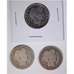 3 BARBER QUARTER KEY COINS: 1897-O G-VG,