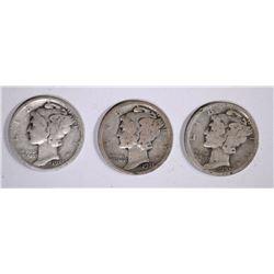 3 1921 MERCURY DIMES  SOLID VG COINS