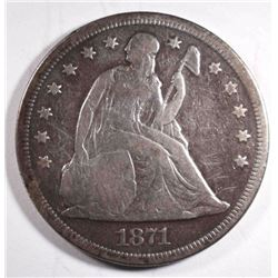 1871 SEATED DOLLAR, SCRATCHES OBV FINE