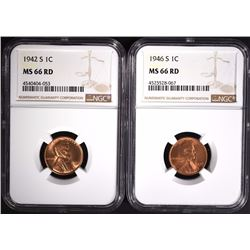 1942-S & 1946-S LINCOLN CENT S NGC MS66 RD