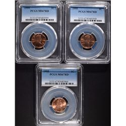 3 1995 LINCOLN CENT PCGS MS67RD