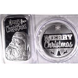 MERRY CHRISTMAS ONE OUNCE ,999 SILVER ROUND & BAR