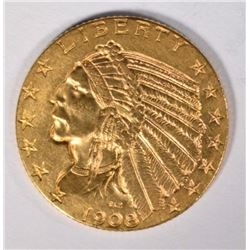 1908 GOLD $5 INDIAN CH BU+