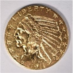1911 GOLD $5 INDIAN CH BU+