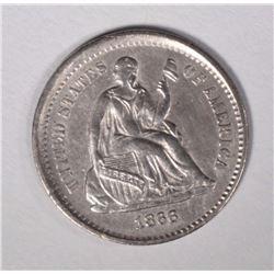 1866-S SEATED LIBERTY HALF DIME CH AU