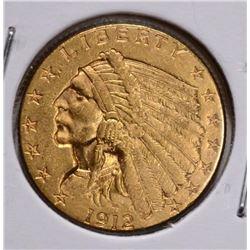 1912 $2 ½ GOLD INDIAN HEAD CH BU