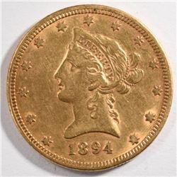 1894 $10.00 GOLD LIBERTY, XF/AU
