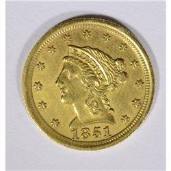 1851-O $2.50 GOLD, AU/BU  RARE!!