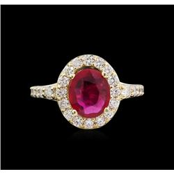 14KT Yellow Gold 2.02ct Ruby and Diamond Ring