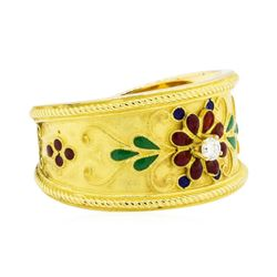 18KT Yellow Gold 0.03ct Diamond and Enamel Ring