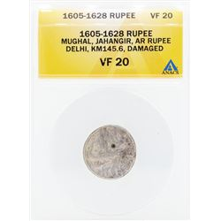 1605-1628 Rupee Mughal Jahangir AR Delhi Damaged Coin ANACS VF20