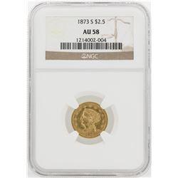 1873-S $2 1/2 Liberty Head Quarter Eagle Gold Coin NGC AU58