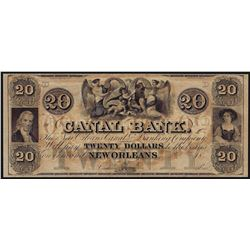 1800's $20 Canal Bank New Orleans Obsolete Bank Note