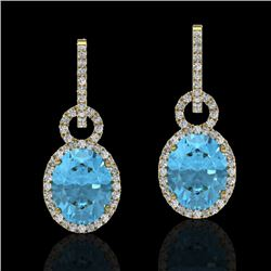 8 CTW Sky Blue Topaz & Micro Solitaire Halo VS/SI Diamond Earrings 14K Yellow Gold - REF-90X7R - 227