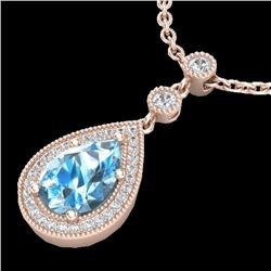 2.25 CTW Sky Blue Topaz & Micro Pave VS/SI Diamond Necklace 14K Rose Gold - REF-38X2R - 23143