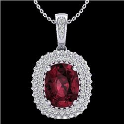 2.60 CTW Garnet & Micro Pave VS/SI Diamond Certified Halo Necklace 10K White Gold - REF-65F5N - 2040