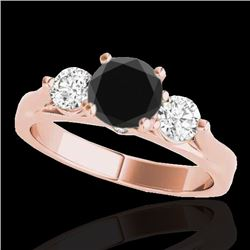 1.50 CTW Certified VS Black Diamond 3 Stone Solitaire Ring 10K Rose Gold - REF-92M2F - 35371