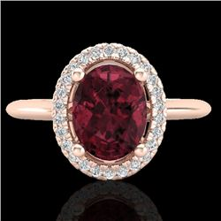 1.75 CTW Garnet & Micro Pave VS/SI Diamond Ring Solitaire Halo 14K Rose Gold - REF-40R2K - 21011