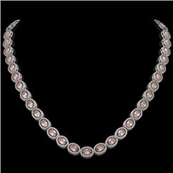31.96 CTW Morganite & Diamond Necklace White Gold 10K White Gold - REF-604A2V - 40805