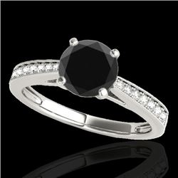 1.25 CTW Certified VS Black Diamond Solitaire Ring 10K White Gold - REF-54R2K - 35008