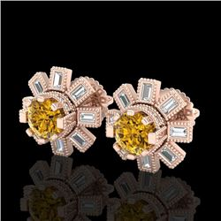 1.77 CTW Intense Fancy Yellow Diamond Art Deco Stud Earrings 18K Rose Gold - REF-236Y4X - 37869