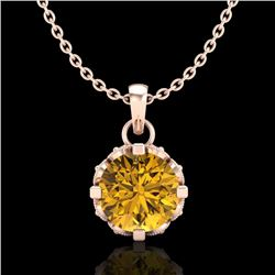 0.85 CTW Intense Fancy Yellow Diamond Art Deco Stud Necklace 18K Rose Gold - REF-109M3F - 37372