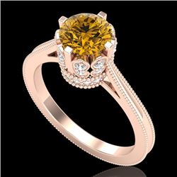 1.50 CTW Intense Fancy Yellow Diamond Engagement Art Deco Ring 18K Rose Gold - REF-209X3R - 37351
