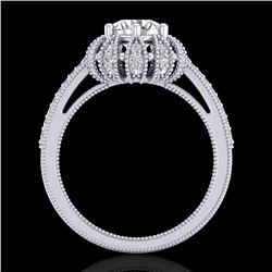 1.65 CTW VS/SI Diamond Solitaire Art Deco Micro Pave Ring 18K White Gold - REF-427V3Y - 36992