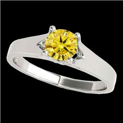 1 CTW Certified SI/I Fancy Intense Yellow Diamond Solitaire Ring 10K White Gold - REF-163K6W - 35162