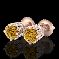 3 CTW Intense Fancy Yellow Diamond Art Deco Stud Earrings 18K Rose Gold - REF-349A3V - 37365