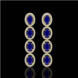 6.47 CTW Sapphire & Diamond Earrings Yellow Gold 10K Yellow Gold - REF-109A5V - 40903