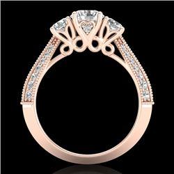 1.81 CTW VS/SI Diamond Art Deco 3 Stone Ring 18K Rose Gold - REF-262V5Y - 37146