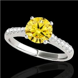 1.25 CTW Certified SI/I Fancy Intense Yellow Diamond Solitaire Ring 10K White Gold - REF-200F2N - 34