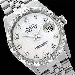 Rolex Men's Stainless Steel, QuickSet, Arabic Dial with Pyrimid Diam Bezel  - REF-509W5H