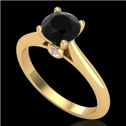 1.08 CTW Fancy Black Diamond Solitaire Engagement Art Deco Ring 18K Yellow Gold - REF-58A2V - 38201