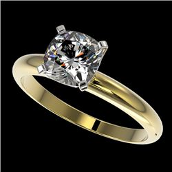 1.25 CTW Certified VS/SI Quality Cushion Cut Diamond Solitaire Ring 10K Yellow Gold - REF-372N3A - 3
