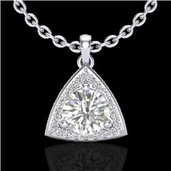 1.50 CTW Micro Pave Halo VS/SI Diamond Certified Necklace 18K White Gold - REF-385V8Y - 20524