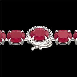 37 CTW Ruby & VS/SI Diamond Eternity Tennis Micro Halo Bracelet 14K White Gold - REF-272R7K - 23438