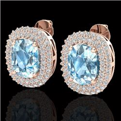 6 CTW Sky Blue Topaz & Micro Pave VS/SI Diamond Halo Earrings 10K Rose Gold - REF-95R3K - 20111