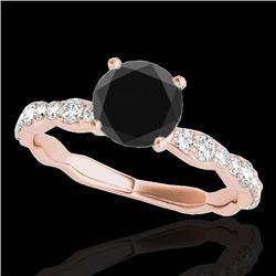 1.40 CTW Certified VS Black Diamond Solitaire Ring 10K Rose Gold - REF-56H2M - 34875