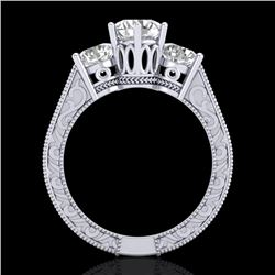 2.01 CTW VS/SI Diamond Solitaire Art Deco 3 Stone Ring 18K White Gold - REF-527Y3X - 36929