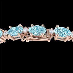 14 CTW Sky Blue Topaz & VS/SI Diamond Certified Eternity Bracelet 10K Rose Gold - REF-73N6A - 21442