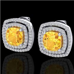 3.55 CTW Citrine And Micro Pave VS/SI Diamond Halo Earrings 18K White Gold - REF-104Y2X - 20160