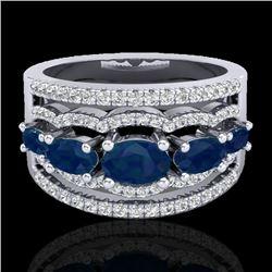 2.25 CTW Sapphire & Micro Pave VS/SI Diamond Certified Designer Ring 10K White Gold - REF-71Y3X - 20