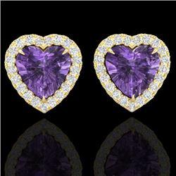 2 CTW Amethyst & Micro Pave VS/SI Diamond Earrings Heart Halo 14K Yellow Gold - REF-42N7A - 21200