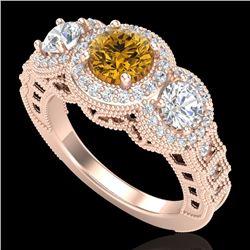 2.16 CTW Intense Fancy Yellow Diamond Art Deco 3 Stone Ring 18K Rose Gold - REF-270W9H - 37673