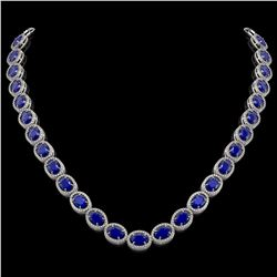 52.15 CTW Sapphire & Diamond Necklace White Gold 10K White Gold - REF-655A3V - 40952