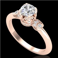 1 CTW VS/SI Diamond Solitaire Art Deco Ring 18K Rose Gold - REF-157A5V - 36852